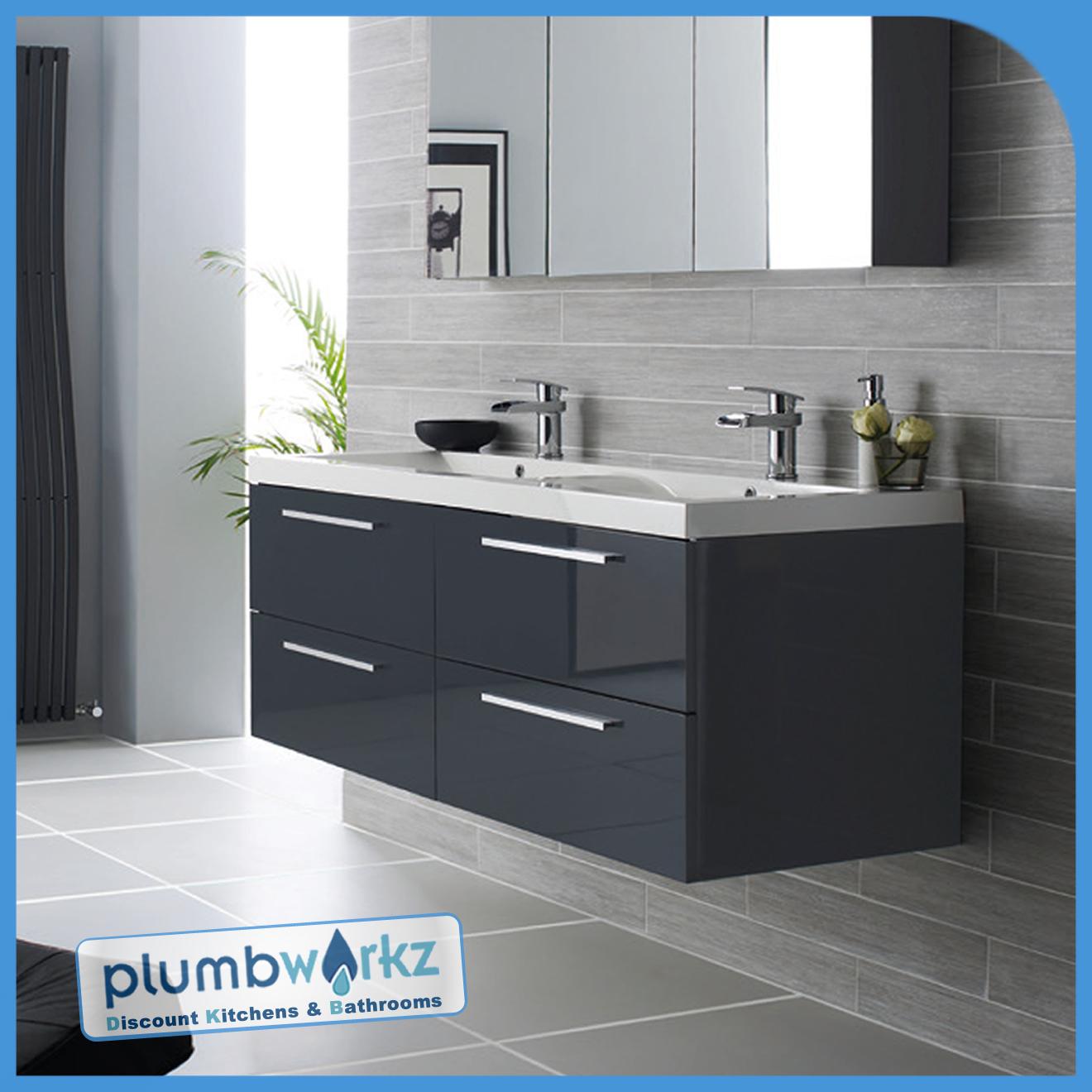 Gloss Graphite Double Basin Bathroom Vanity Unit Sink Storage Modern