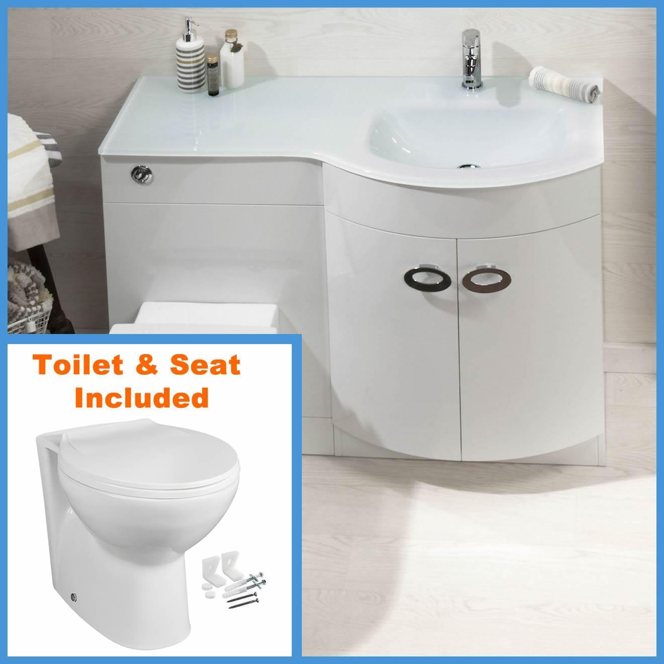 d shape bathroom vanity unit basin sink bathroom wc unit btw toilet white glass ebay. Black Bedroom Furniture Sets. Home Design Ideas