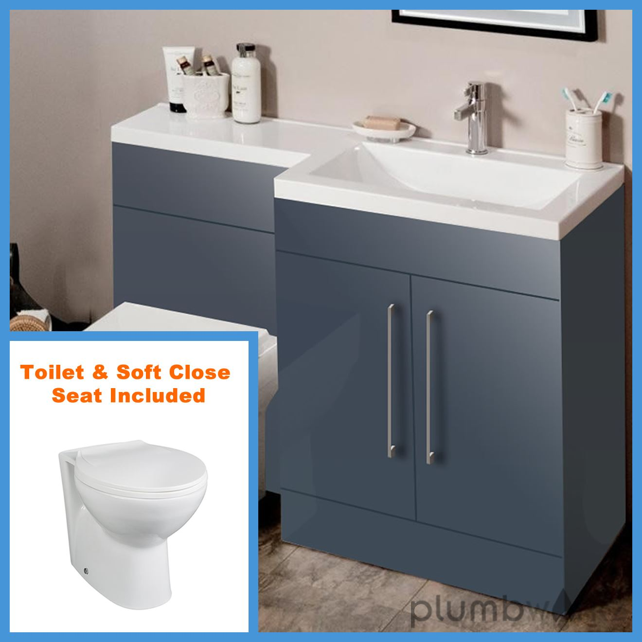 L Shape Anthracite Bathroom Furniture Suite Basin Btw