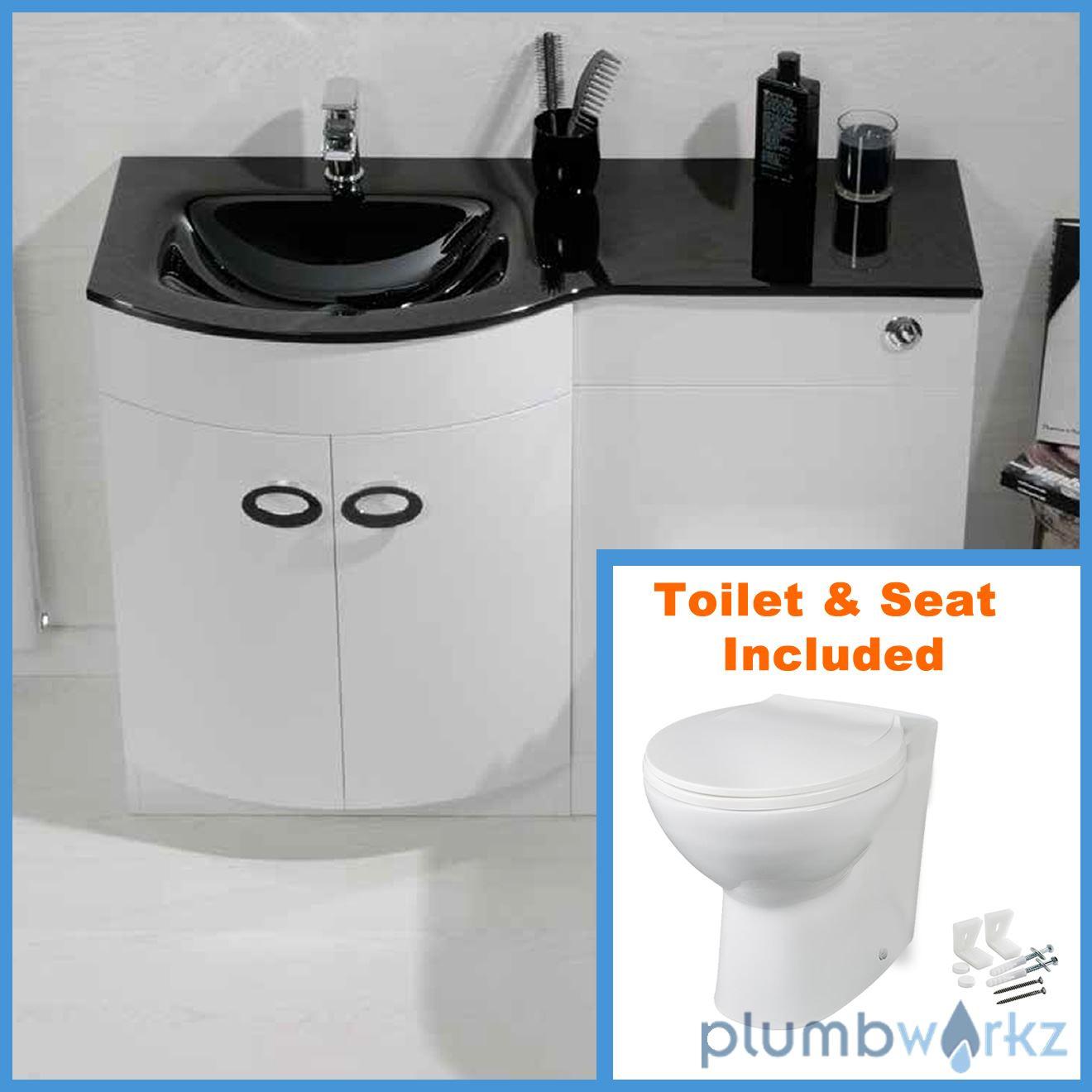 D Shape Bathroom Vanity Unit Basin Sink Bathroom WC Unit